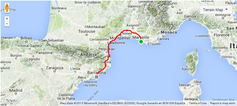 Mapa viagem de trem de Marselha a Barcelona