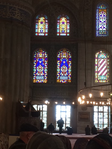 stained glass in the blue mosque